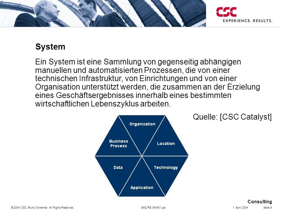 SAQ RE 040401.ppt Consulting © 2004 CSC, Bruno Schenker. All Rights Reserved.Seite 91. April 2004 System Ein System ist eine Sammlung von gegenseitig