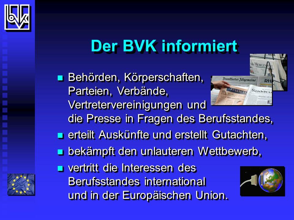 BVK Aktuell Gegenwärtig vertritt der BVK die Interessen von ca.