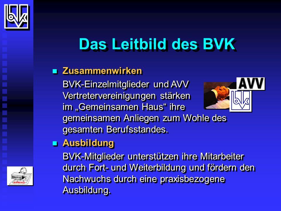 Das Leitbild des BVK Zusammenwirken Zusammenwirken BVK-Einzelmitglieder und AVV Vertretervereinigungen stärken im Gemeinsamen Haus ihre gemeinsamen Anliegen zum Wohle des gesamten Berufsstandes.