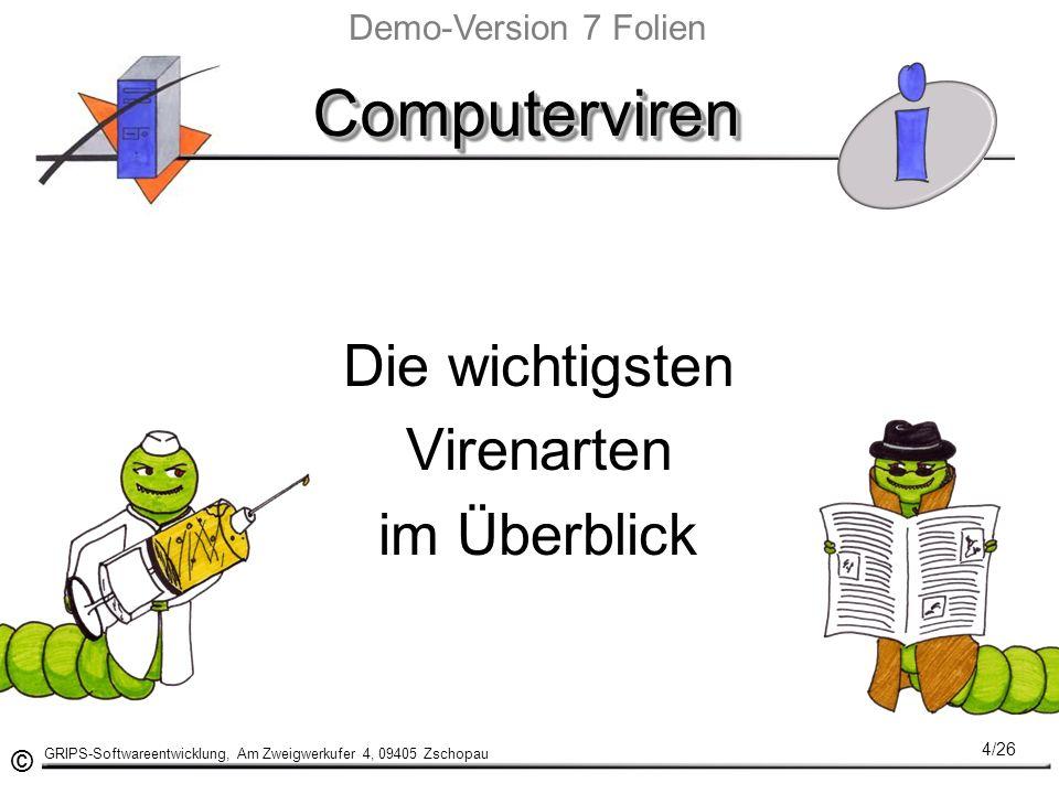 © GRIPS-Softwareentwicklung, Am Zweigwerkufer 4, 09405 Zschopau 4/26 ComputervirenComputerviren Die wichtigsten Virenarten im Überblick Demo-Version 7 Folien