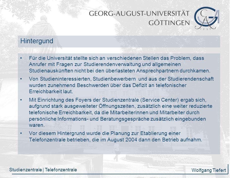 Wolfgang Tiefert Studienzentrale | Telefonzentrale E-Mail-Statistik 2007 4.671 Mails wurden abschließend bearbeitet 3.341 Mails wurden weitergeleitet