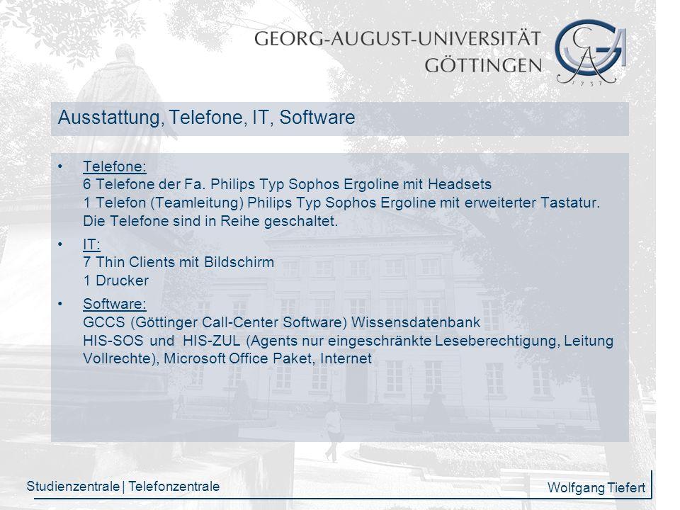 Wolfgang Tiefert Studienzentrale | Telefonzentrale Herzlichen Dank für Ihre Aufmerksamkeit!