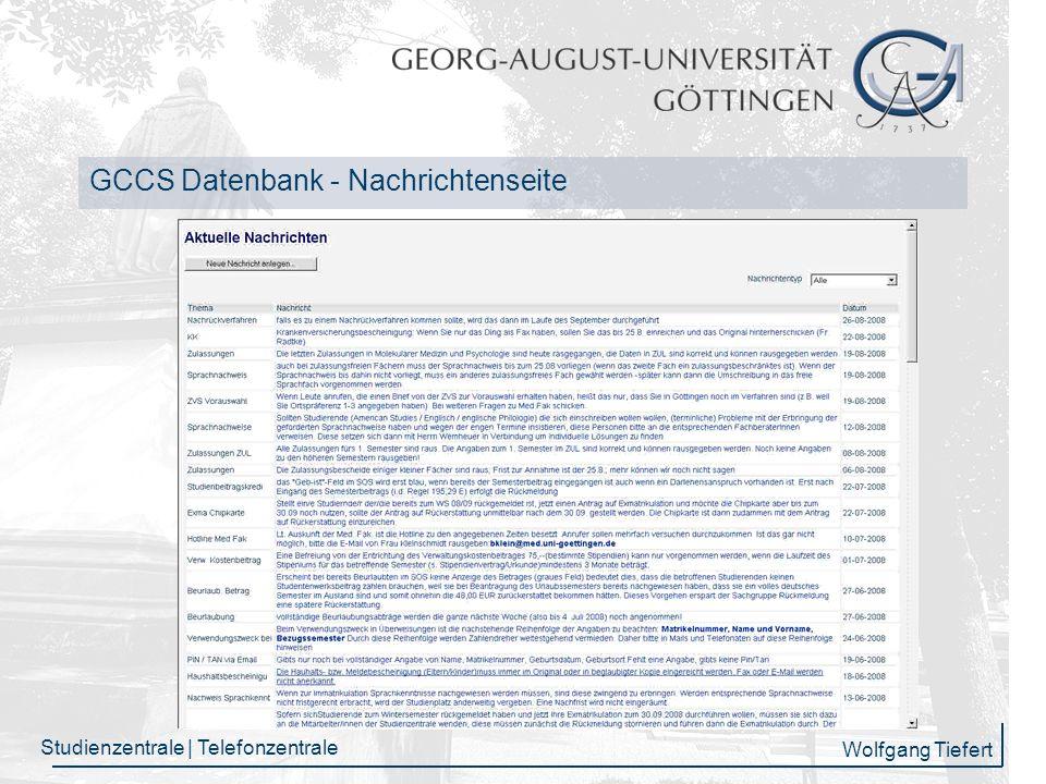 Wolfgang Tiefert Studienzentrale | Telefonzentrale GCCS Info-Seite