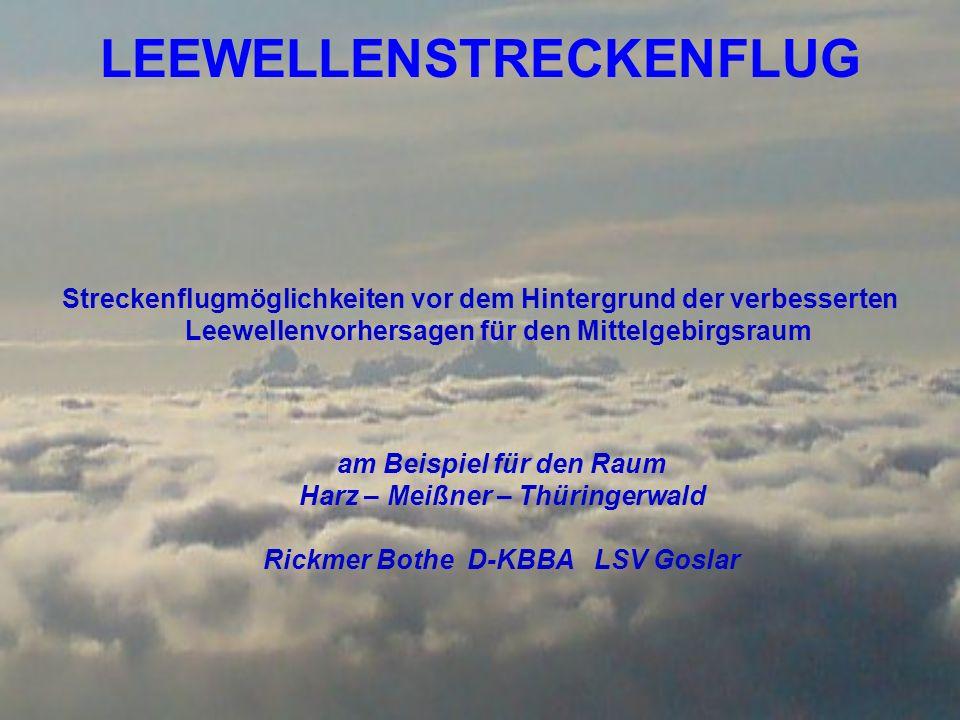 Streckenmöglichkeiten bei SW-Welle 1 = Direktflugmöglichkeit 2 = der von Karl-Heinz Dannhauer geflogene Weg 3 = Mitwindflug vom Meißner zum Harz 4 = Mitwindflug vom Thüringer Wald zum Harz 5 = Verbindungsstrecken mit größerer Seitenwindkomponente oder geringerer Entfernung 3 4 5