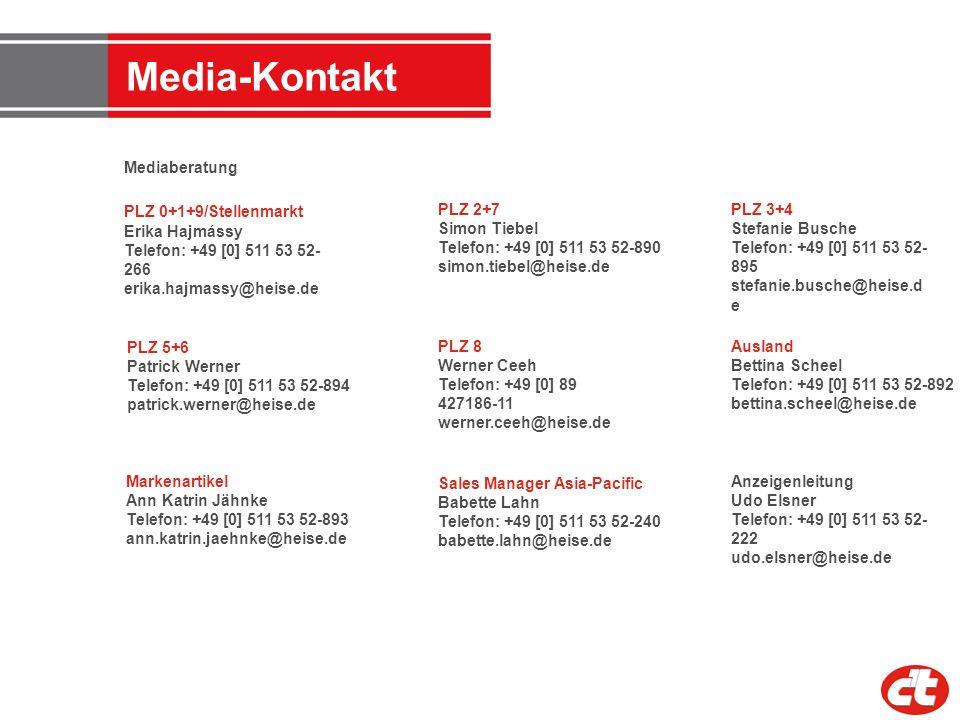 Media-Kontakt Anzeigenleitung Udo Elsner Telefon: +49 [0] 511 53 52- 222 udo.elsner@heise.de Mediaberatung PLZ 0+1+9/Stellenmarkt Erika Hajmássy Telef