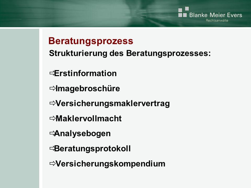 Beratungsprozess Strukturierung des Beratungsprozesses: Erstinformation Imagebroschüre Versicherungsmaklervertrag Maklervollmacht Analysebogen Beratun