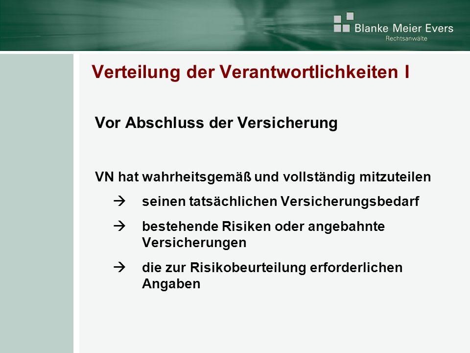 Verteilung der Verantwortlichkeiten II Nach Vertragsschluss - VN muss Änderung der Risikolage (schriftlich) mitteilen