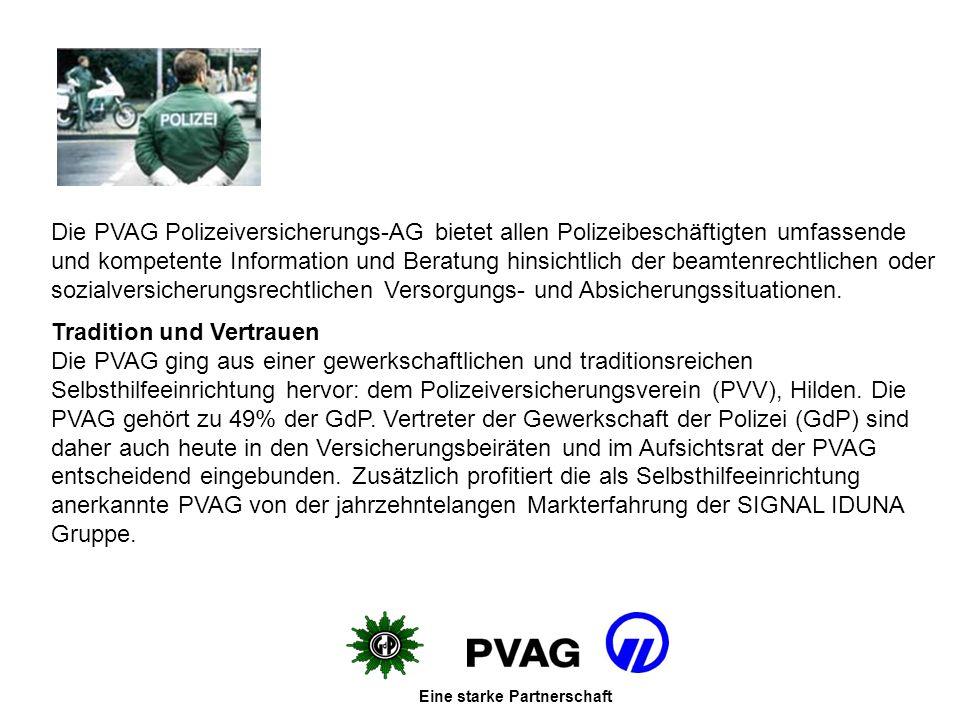 Die PVAG Polizeiversicherungs-AG bietet allen Polizeibeschäftigten umfassende und kompetente Information und Beratung hinsichtlich der beamtenrechtlichen oder sozialversicherungsrechtlichen Versorgungs- und Absicherungssituationen.