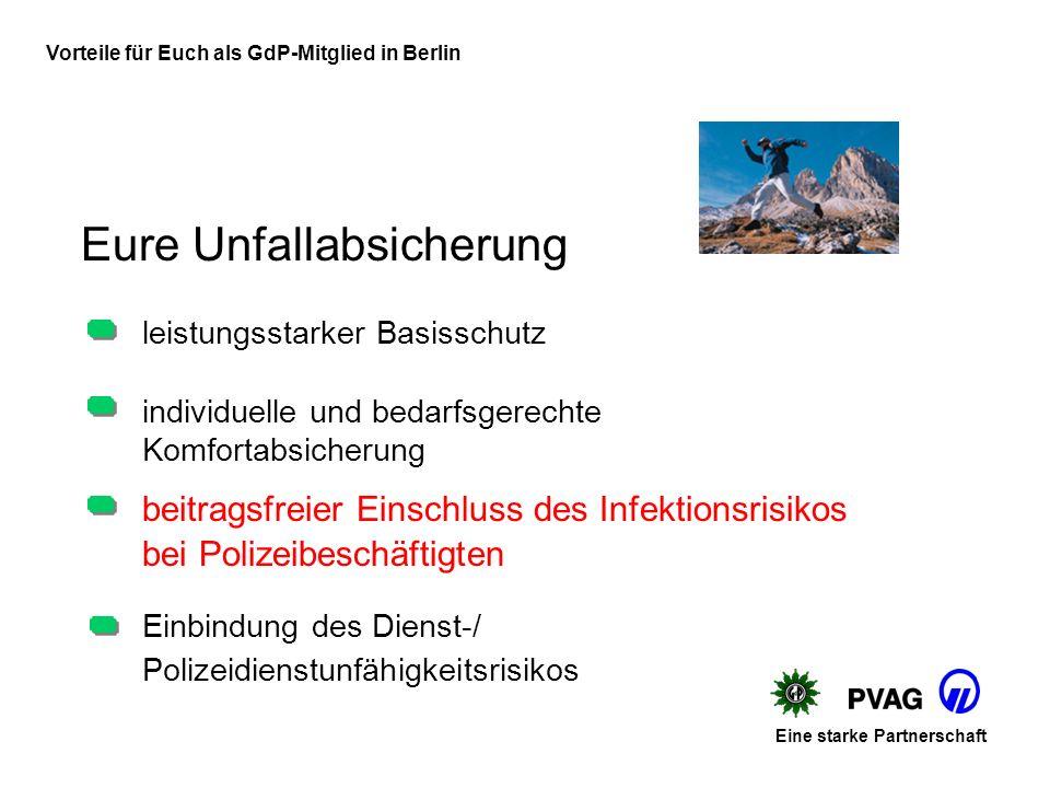 Vorteile für Euch als GdP-Mitglied in Berlin Polizeidienstunfähigkeitsversicherung Eine starke Partnerschaft Einzigartige Absicherung über Kollektivra