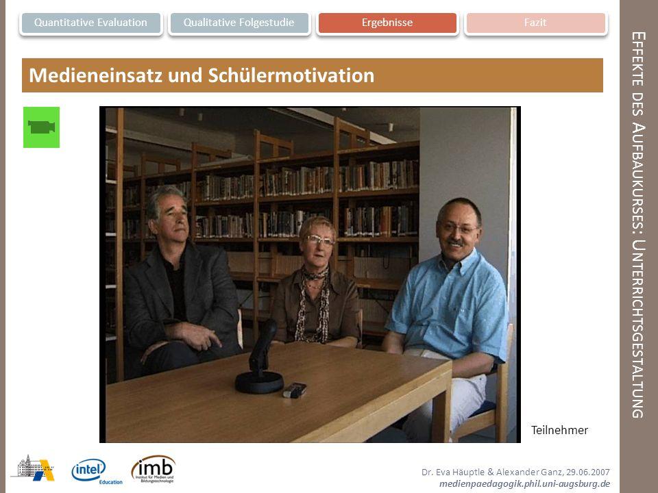 Dr. Eva Häuptle & Alexander Ganz, 29.06.2007 medienpaedagogik.phil.uni-augsburg.de E FFEKTE DES A UFBAUKURSES : U NTERRICHTSGESTALTUNG Quantitative Ev