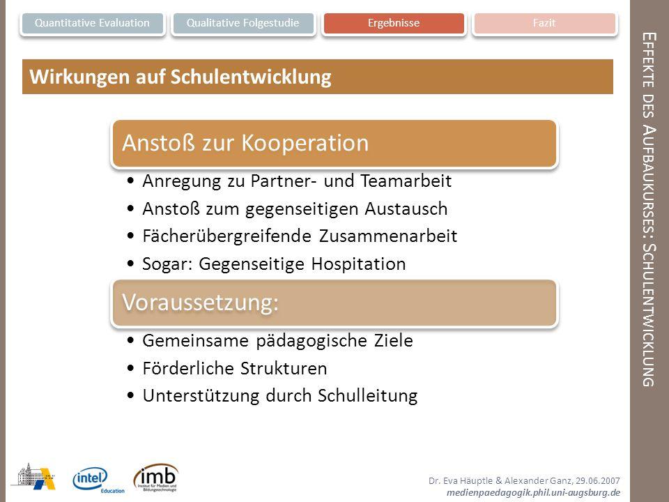 Dr. Eva Häuptle & Alexander Ganz, 29.06.2007 medienpaedagogik.phil.uni-augsburg.de E FFEKTE DES A UFBAUKURSES : S CHULENTWICKLUNG Quantitative Evaluat