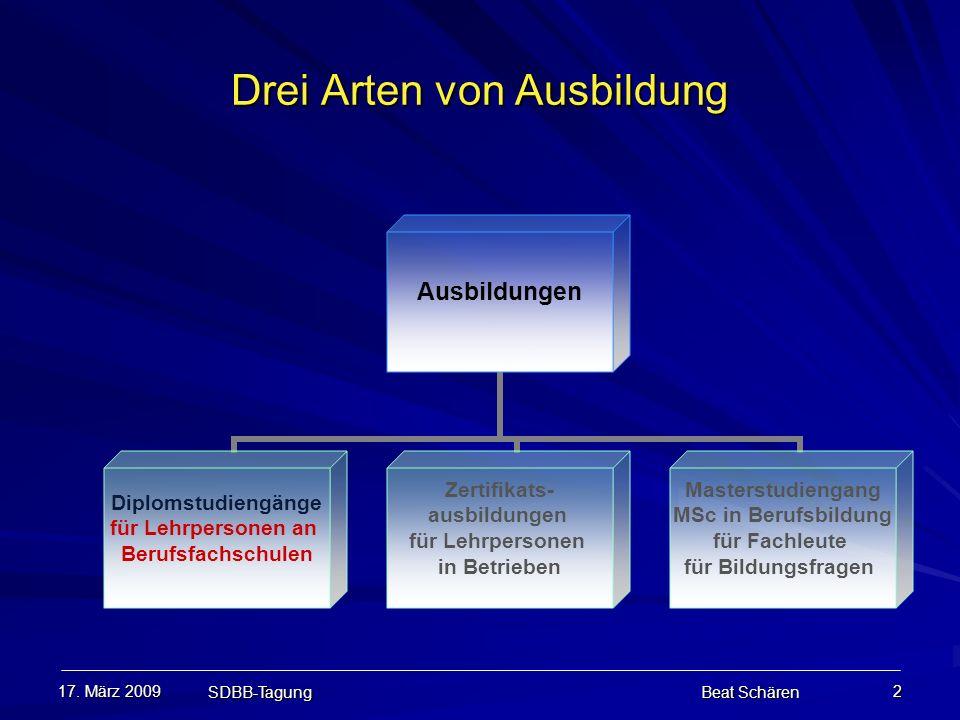17. März 2009 SDBB-Tagung Beat Schären 2 Drei Arten von Ausbildung Ausbildungen Diplomstudiengänge für Lehrpersonen an Berufsfachschulen Zertifikats-