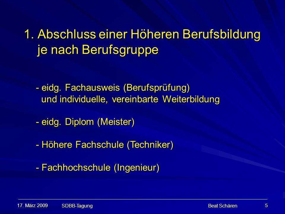 17. März 2009 SDBB-Tagung Beat Schären 5 1. Abschluss einer Höheren Berufsbildung je nach Berufsgruppe 1. Abschluss einer Höheren Berufsbildung je nac