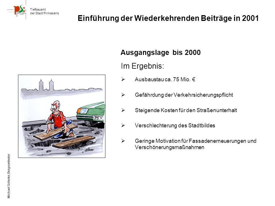 Tiefbauamt der Stadt Pirmasens Michael Schieler, Beigeordneter Ausgangslage bis 2000 Im Ergebnis: Ausbaustau ca.