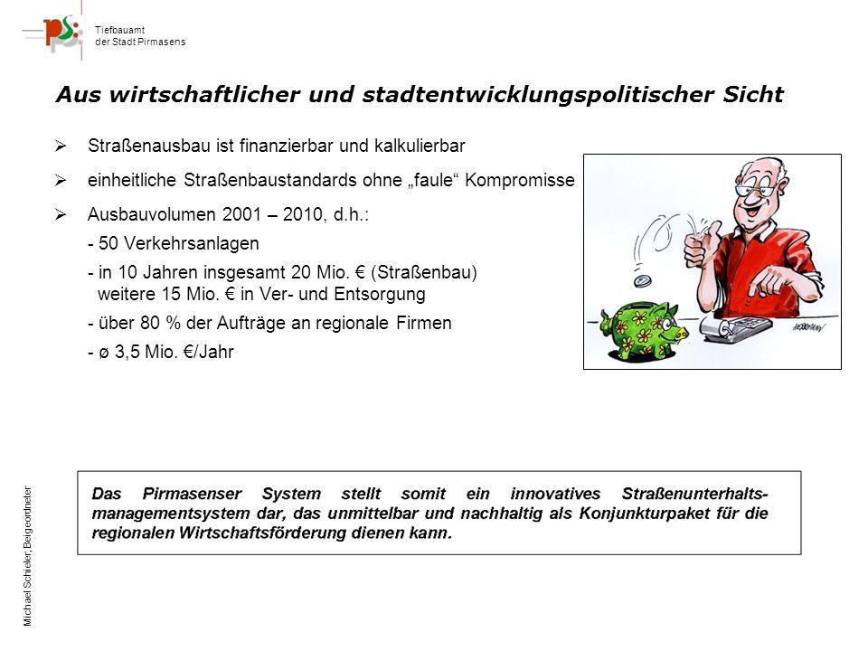 Tiefbauamt der Stadt Pirmasens Michael Schieler, Beigeordneter Straßenausbau ist finanzierbar und kalkulierbar einheitliche Straßenbaustandards ohne faule Kompromisse Ausbauvolumen 2001 – 2010, d.h.: - 50 Verkehrsanlagen - in 10 Jahren insgesamt 20 Mio.