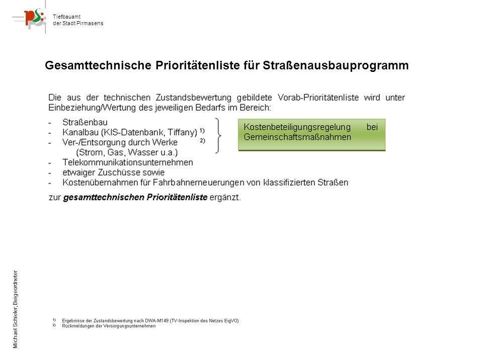 Tiefbauamt der Stadt Pirmasens Michael Schieler, Beigeordneter Gesamttechnische Prioritätenliste für Straßenausbauprogramm