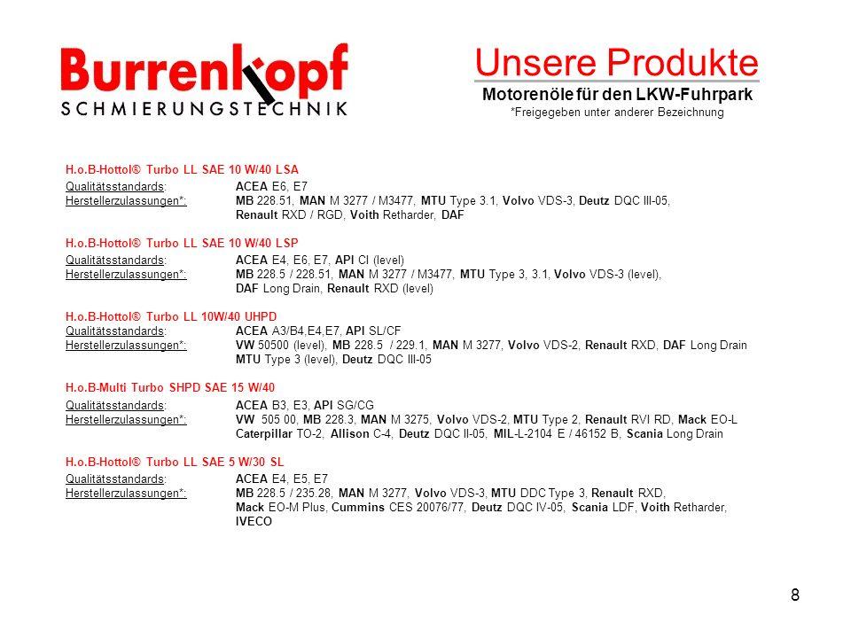 Unsere Produkte Motorenöle für den LKW-Fuhrpark *Freigegeben unter anderer Bezeichnung H.o.B-Hottol® Turbo LL SAE 10 W/40 LSA Qualitätsstandards:ACEA E6, E7 Herstellerzulassungen*:MB 228.51, MAN M 3277 / M3477, MTU Type 3.1, Volvo VDS-3, Deutz DQC III-05, Renault RXD / RGD, Voith Retharder, DAF H.o.B-Hottol® Turbo LL SAE 10 W/40 LSP Qualitätsstandards:ACEA E4, E6, E7, API CI (level) Herstellerzulassungen*:MB 228.5 / 228.51, MAN M 3277 / M3477, MTU Type 3, 3.1, Volvo VDS-3 (level), DAF Long Drain, Renault RXD (level) H.o.B-Hottol® Turbo LL 10W/40 UHPD Qualitätsstandards:ACEA A3/B4,E4,E7, API SL/CF Herstellerzulassungen*:VW 50500 (level), MB 228.5 / 229.1, MAN M 3277, Volvo VDS-2, Renault RXD, DAF Long Drain MTU Type 3 (level), Deutz DQC III-05 H.o.B-Multi Turbo SHPD SAE 15 W/40 Qualitätsstandards:ACEA B3, E3, API SG/CG Herstellerzulassungen*:VW 505 00, MB 228.3, MAN M 3275, Volvo VDS-2, MTU Type 2, Renault RVI RD, Mack EO-L Caterpillar TO-2, Allison C-4, Deutz DQC II-05, MIL-L-2104 E / 46152 B, Scania Long Drain H.o.B-Hottol® Turbo LL SAE 5 W/30 SL Qualitätsstandards:ACEA E4, E5, E7 Herstellerzulassungen*:MB 228.5 / 235.28, MAN M 3277, Volvo VDS-3, MTU DDC Type 3, Renault RXD, Mack EO-M Plus, Cummins CES 20076/77, Deutz DQC IV-05, Scania LDF, Voith Retharder, IVECO 8