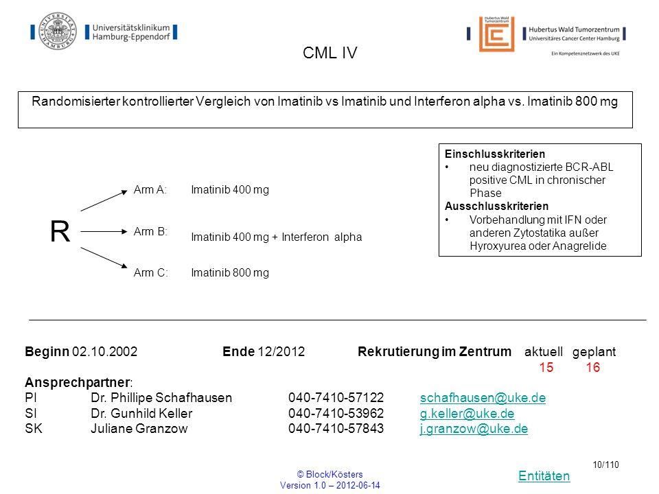 Entitäten © Block/Kösters Version 1.0 – 2012-06-14 10/110 CML IV Randomisierter kontrollierter Vergleich von Imatinib vs Imatinib und Interferon alpha