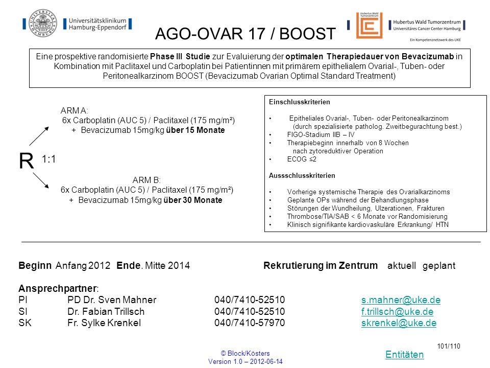 Entitäten © Block/Kösters Version 1.0 – 2012-06-14 101/110 AGO-OVAR 17 / BOOST Eine prospektive randomisierte Phase III Studie zur Evaluierung der opt