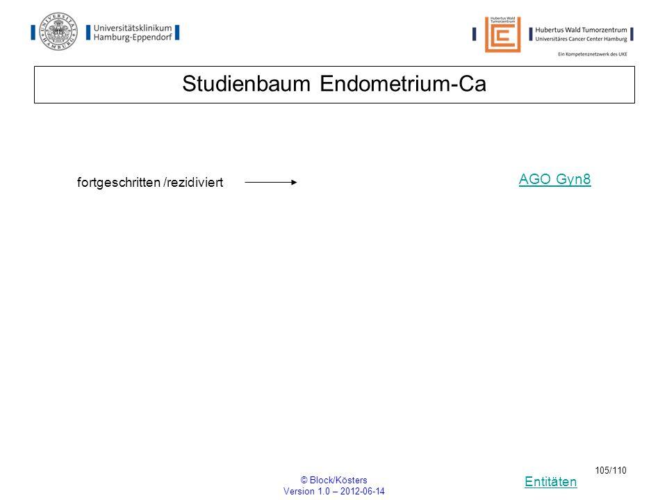 Entitäten © Block/Kösters Version 1.0 – 2012-06-14 105/110 Studienbaum Endometrium-Ca fortgeschritten /rezidiviert AGO Gyn8