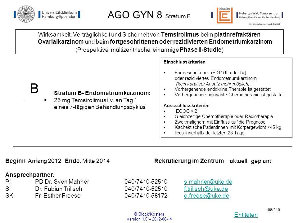 Entitäten © Block/Kösters Version 1.0 – 2012-06-14 106/110 AGO GYN 8 Stratum B Wirksamkeit, Verträglichkeit und Sicherheit von Temsirolimus beim plati