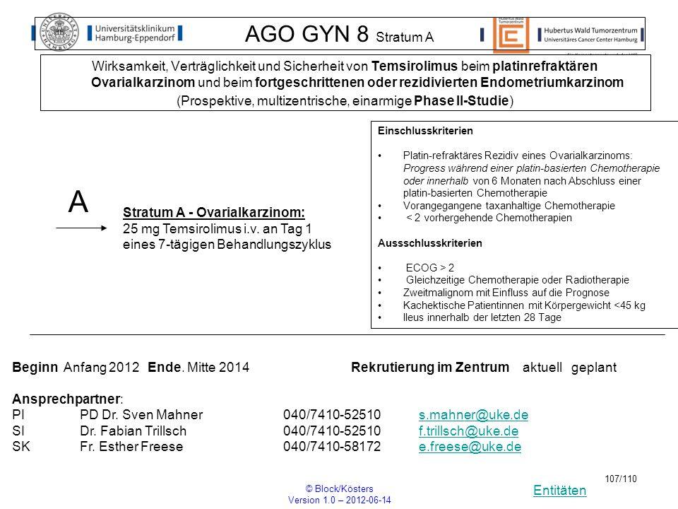 Entitäten © Block/Kösters Version 1.0 – 2012-06-14 107/110 AGO GYN 8 Stratum A Wirksamkeit, Verträglichkeit und Sicherheit von Temsirolimus beim plati