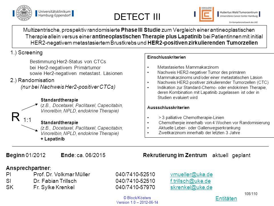 Entitäten © Block/Kösters Version 1.0 – 2012-06-14 108/110 DETECT III Multizentrische, prospektiv randomisierte Phase III Studie zum Vergleich einer a