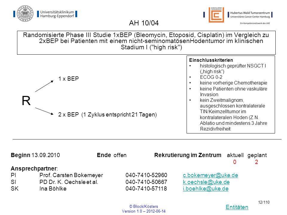 Entitäten © Block/Kösters Version 1.0 – 2012-06-14 12/110 AH 10/04 Randomisierte Phase III Studie 1xBEP (Bleomycin, Etoposid, Cisplatin) im Vergleich