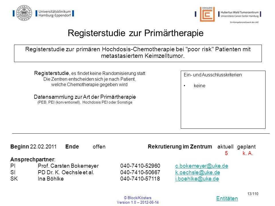Entitäten © Block/Kösters Version 1.0 – 2012-06-14 13/110 Registerstudie zur primären Hochdosis-Chemotherapie bei