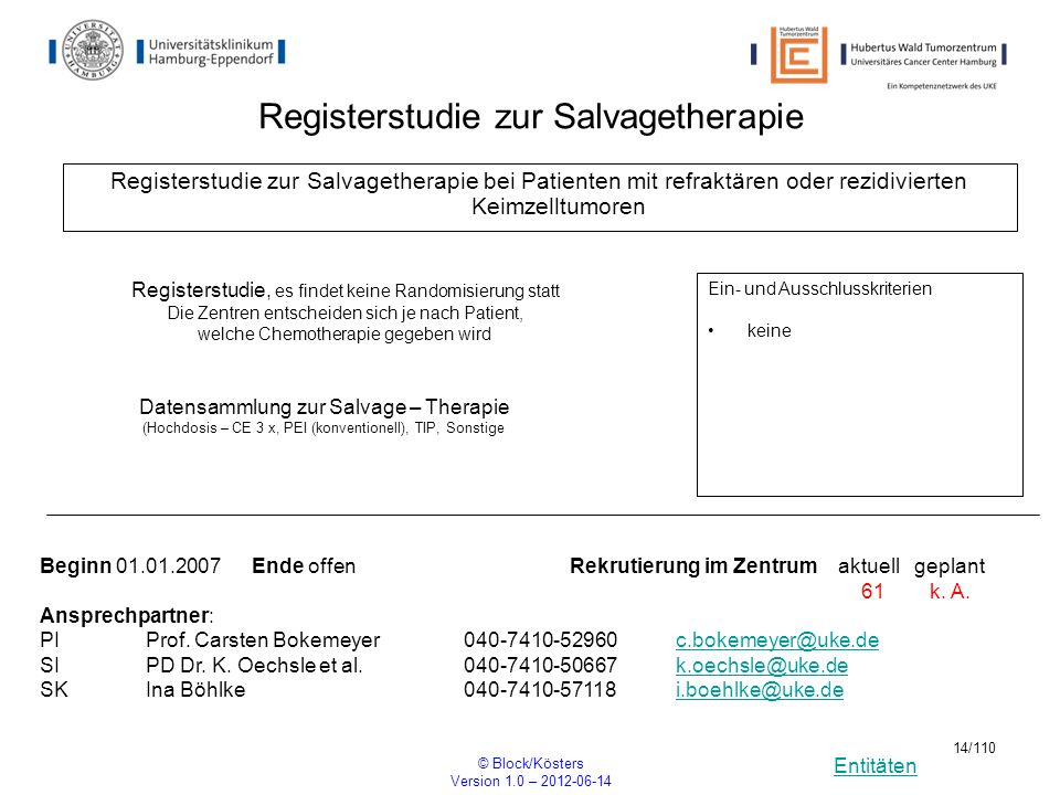 Entitäten © Block/Kösters Version 1.0 – 2012-06-14 14/110 Registerstudie zur Salvagetherapie Registerstudie zur Salvagetherapie bei Patienten mit refr