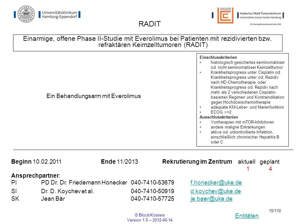 Entitäten © Block/Kösters Version 1.0 – 2012-06-14 15/110 RADIT Einarmige, offene Phase II-Studie mit Everolimus bei Patienten mit rezidivierten bzw.