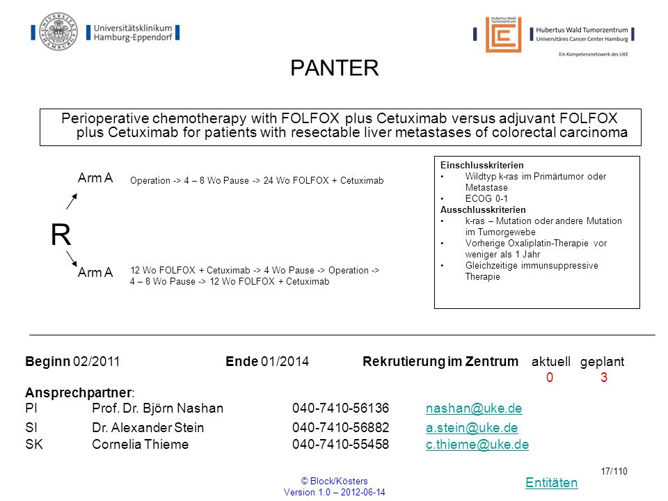 Entitäten © Block/Kösters Version 1.0 – 2012-06-14 17/110 PANTER Perioperative chemotherapy with FOLFOX plus Cetuximab versus adjuvant FOLFOX plus Cet
