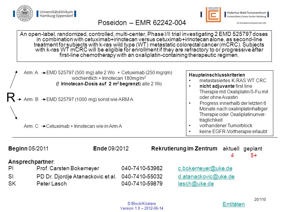 Entitäten © Block/Kösters Version 1.0 – 2012-06-14 20/110 Poseidon – EMR 62242-004 An open-label, randomized, controlled, multi-center, Phase I/II tri