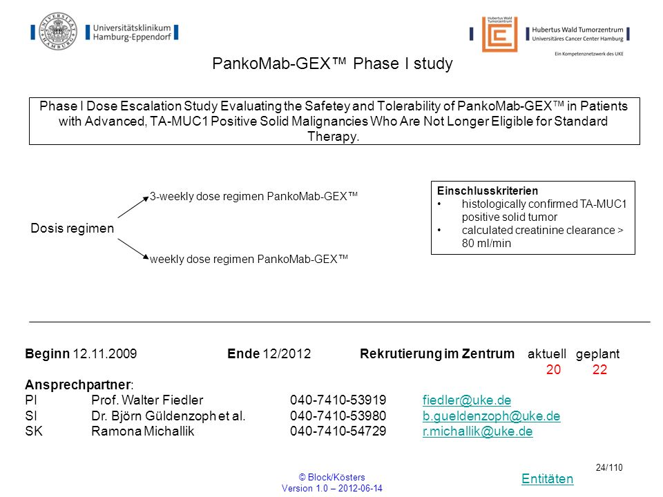 Entitäten © Block/Kösters Version 1.0 – 2012-06-14 24/110 PankoMab-GEX Phase I study Phase I Dose Escalation Study Evaluating the Safetey and Tolerabi
