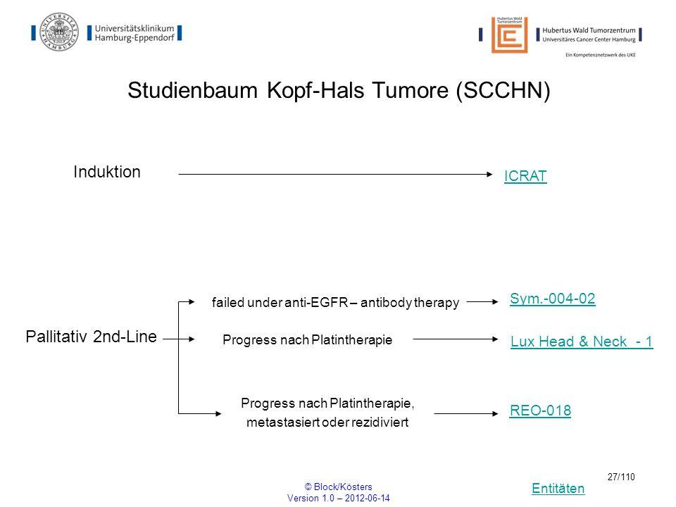 Entitäten © Block/Kösters Version 1.0 – 2012-06-14 27/110 Studienbaum Kopf-Hals Tumore (SCCHN) Induktion ICRAT Sym.-004-02 Pallitativ 2nd-Line REO-018