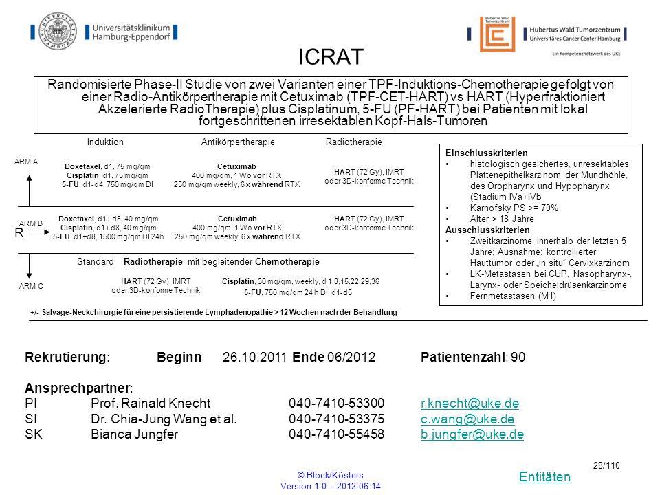 Entitäten © Block/Kösters Version 1.0 – 2012-06-14 28/110 ICRAT Randomisierte Phase-II Studie von zwei Varianten einer TPF-Induktions-Chemotherapie ge