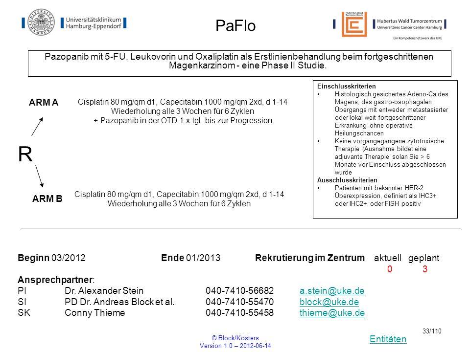 Entitäten © Block/Kösters Version 1.0 – 2012-06-14 33/110 PaFlo Pazopanib mit 5-FU, Leukovorin und Oxaliplatin als Erstlinienbehandlung beim fortgesch