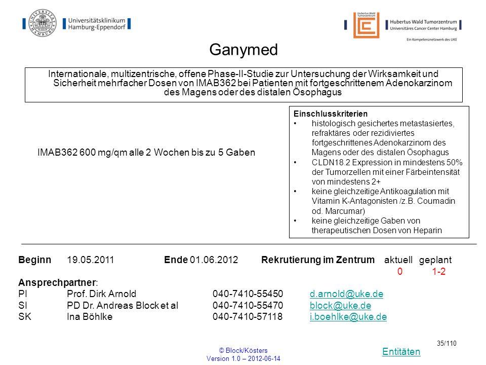 Entitäten © Block/Kösters Version 1.0 – 2012-06-14 35/110 Ganymed Internationale, multizentrische, offene Phase-II-Studie zur Untersuchung der Wirksam