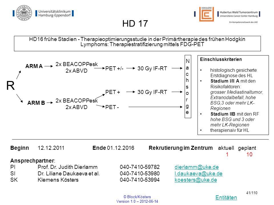 Entitäten © Block/Kösters Version 1.0 – 2012-06-14 41/110 HD 17 HD16 frühe Stadien - Therapieoptimierungsstudie in der Primärtherapie des frühen Hodgk