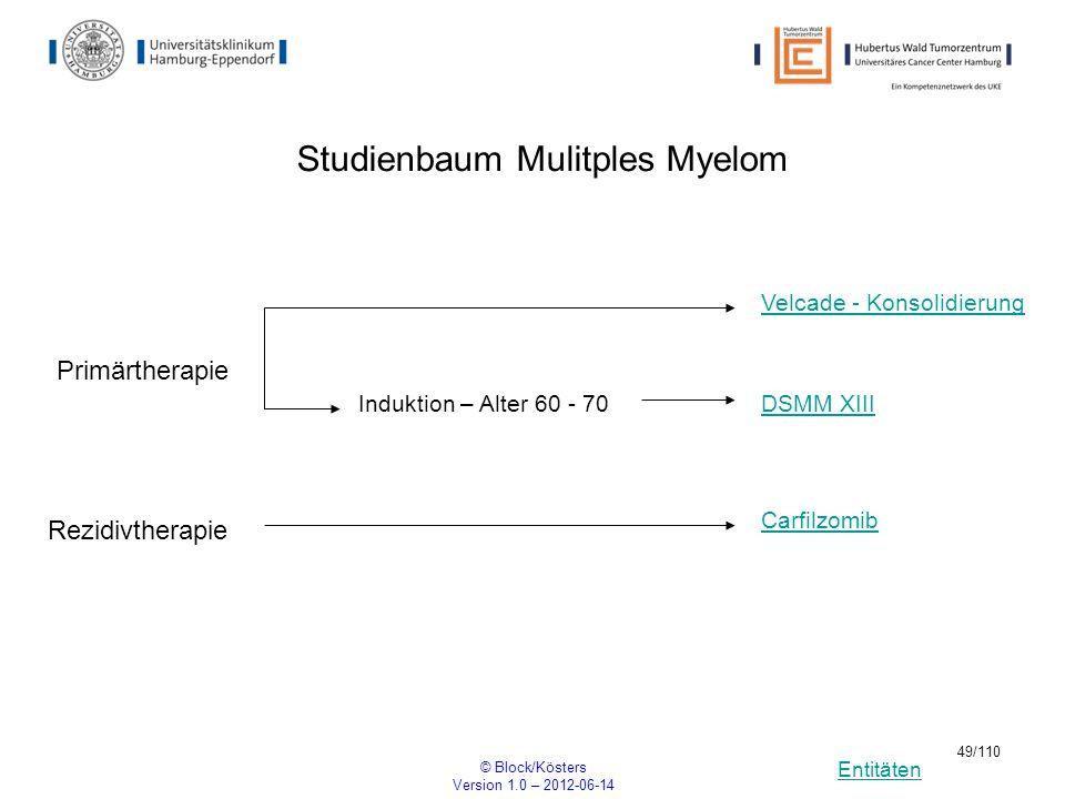 Entitäten © Block/Kösters Version 1.0 – 2012-06-14 49/110 Studienbaum Mulitples Myelom DSMM XIII Carfilzomib Primärtherapie Induktion – Alter 60 - 70