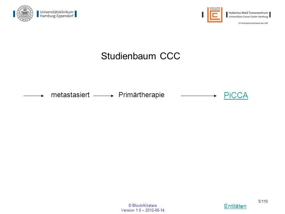 Entitäten © Block/Kösters Version 1.0 – 2012-06-14 5/110 Studienbaum CCC metastasiert PiCCA Primärtherapie