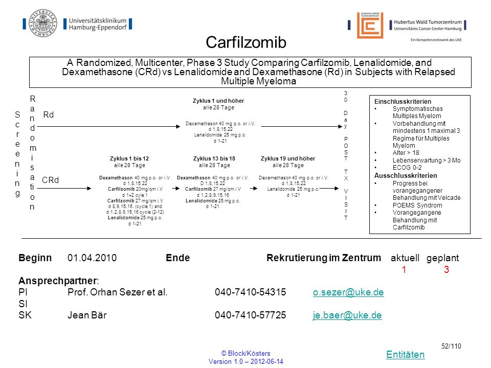 Entitäten © Block/Kösters Version 1.0 – 2012-06-14 52/110 Carfilzomib A Randomized, Multicenter, Phase 3 Study Comparing Carfilzomib, Lenalidomide, an