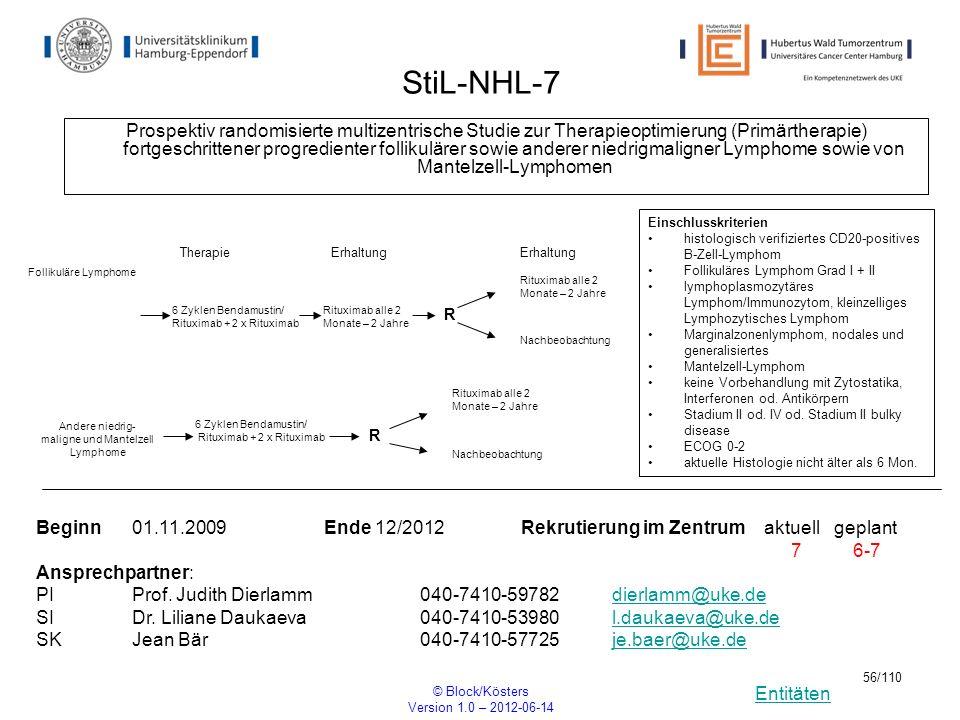 Entitäten © Block/Kösters Version 1.0 – 2012-06-14 56/110 StiL-NHL-7 Prospektiv randomisierte multizentrische Studie zur Therapieoptimierung (Primärth