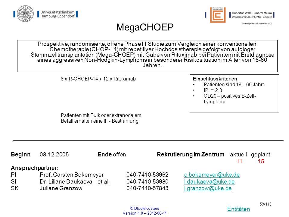 Entitäten © Block/Kösters Version 1.0 – 2012-06-14 59/110 MegaCHOEP Prospektive, randomisierte, offene Phase III Studie zum Vergleich einer konvention