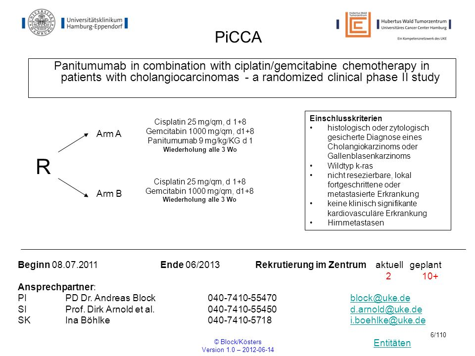 Entitäten © Block/Kösters Version 1.0 – 2012-06-14 97/110 Theresa A PHASE III RANDOMIZED, MULTICENTER, TWO-ARM, OPEN-LABEL TRIAL TO EVALUATE THE EFFICACY OF T- DM1 COMPARED WITH TREATMENT OF PHYSICIANS CHOICE IN PATIENTS WITH HER2-POSITIVE METASTATIC BREAST CANCER WHO HAVE RECEIVED AT LEAST TWO PRIOR REGIMENS OF HER2- DIRECTED THERAPY R ARM B: T-DM 1 Einschlusskriterien Metastatic or unresectable locally advanced/recurrent breast cancer HER2-positive disease documented as ISH-positive and/or 3+ by IHC on previously collected tumor tissue and prospectively confirmed central laboratory prior to study enrollment.