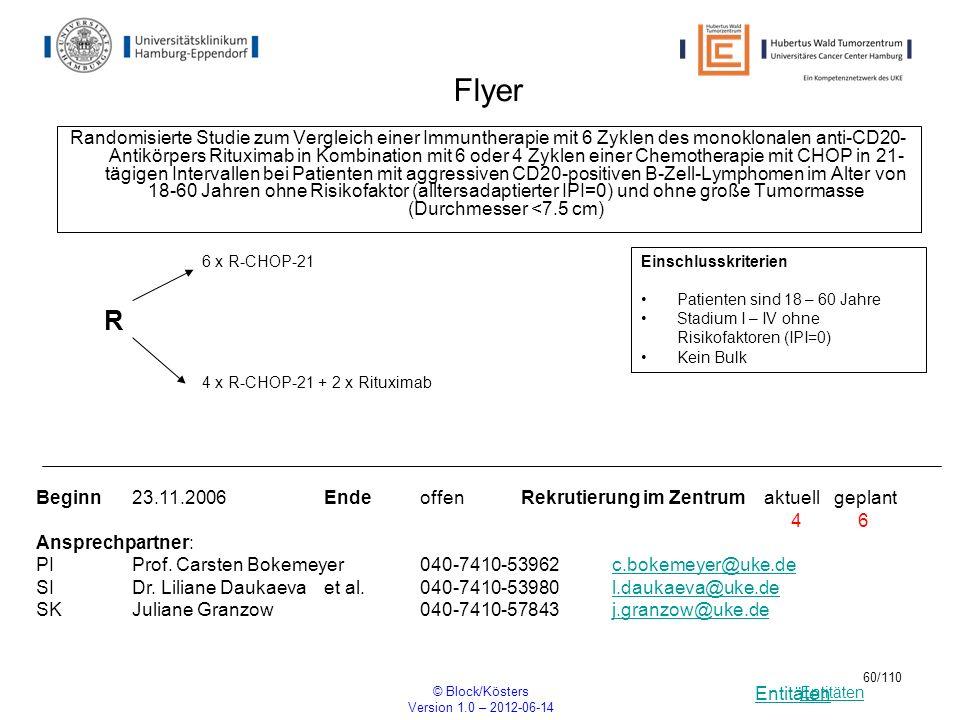Entitäten © Block/Kösters Version 1.0 – 2012-06-14 60/110 Flyer Randomisierte Studie zum Vergleich einer Immuntherapie mit 6 Zyklen des monoklonalen a