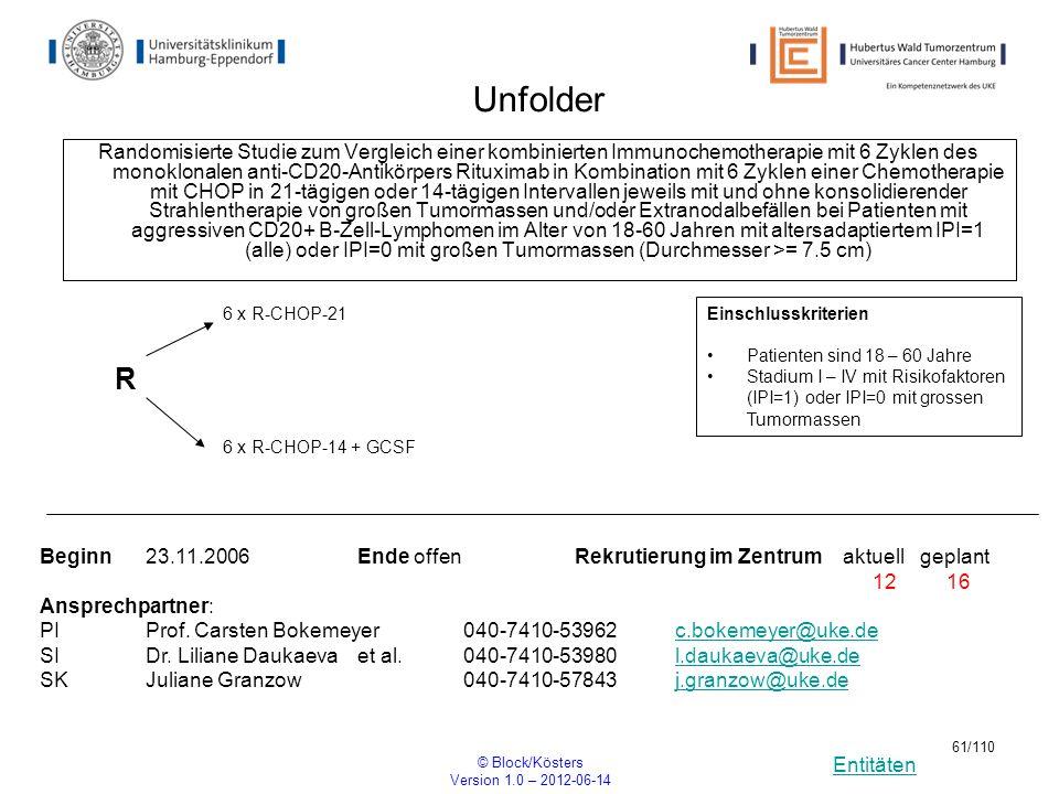 Entitäten © Block/Kösters Version 1.0 – 2012-06-14 61/110 Unfolder Randomisierte Studie zum Vergleich einer kombinierten Immunochemotherapie mit 6 Zyk