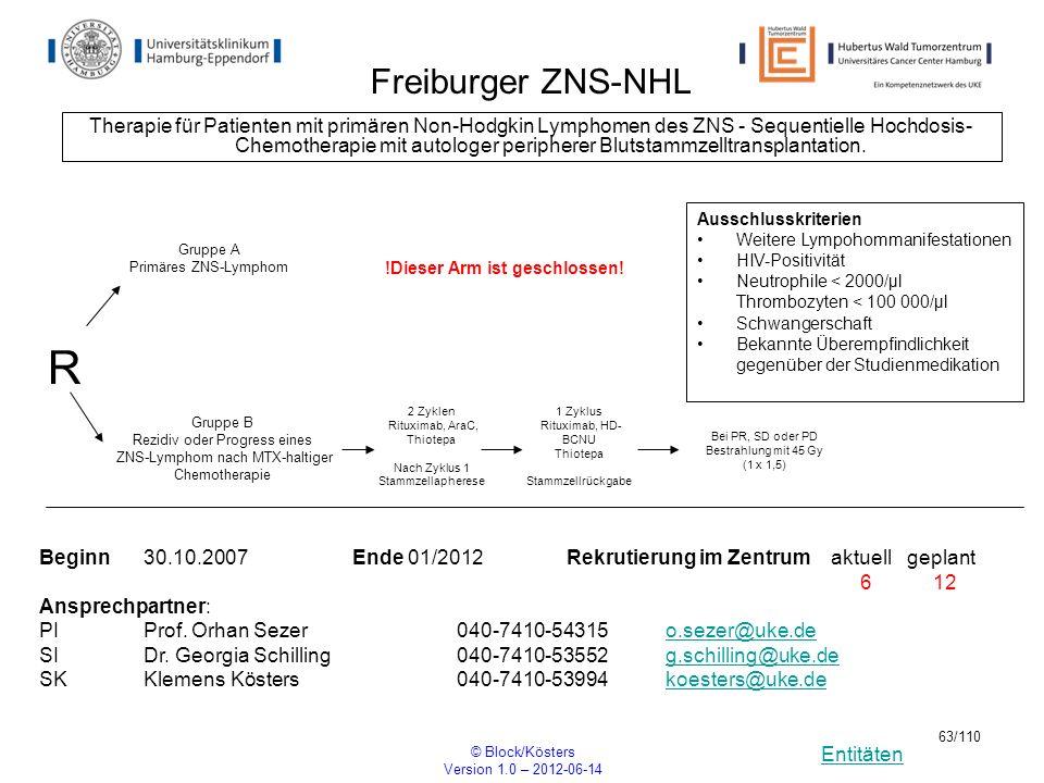Entitäten © Block/Kösters Version 1.0 – 2012-06-14 63/110 Freiburger ZNS-NHL Therapie für Patienten mit primären Non-Hodgkin Lymphomen des ZNS - Seque