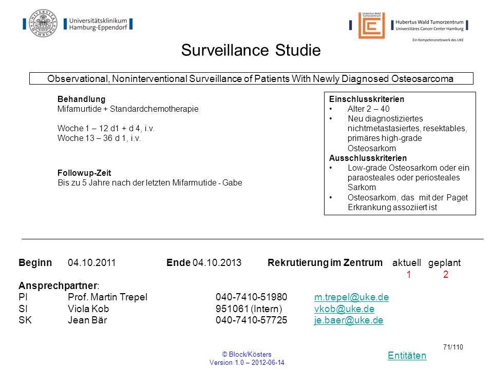Entitäten © Block/Kösters Version 1.0 – 2012-06-14 71/110 Surveillance Studie Observational, Noninterventional Surveillance of Patients With Newly Dia