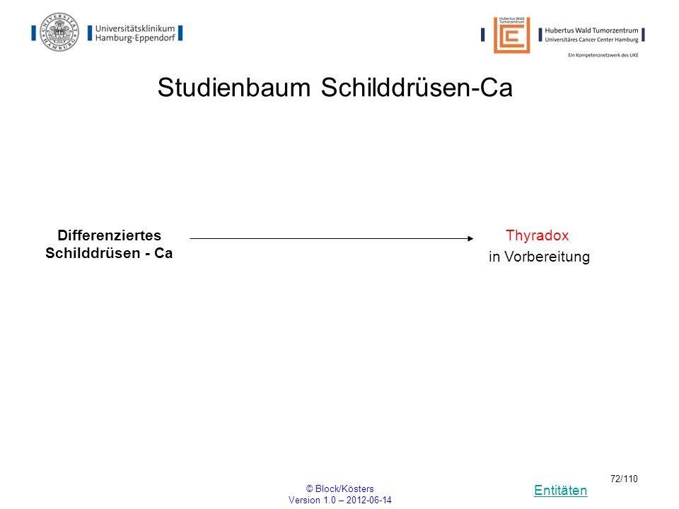 Entitäten © Block/Kösters Version 1.0 – 2012-06-14 72/110 Studienbaum Schilddrüsen-Ca Differenziertes Schilddrüsen - Ca Thyradox in Vorbereitung